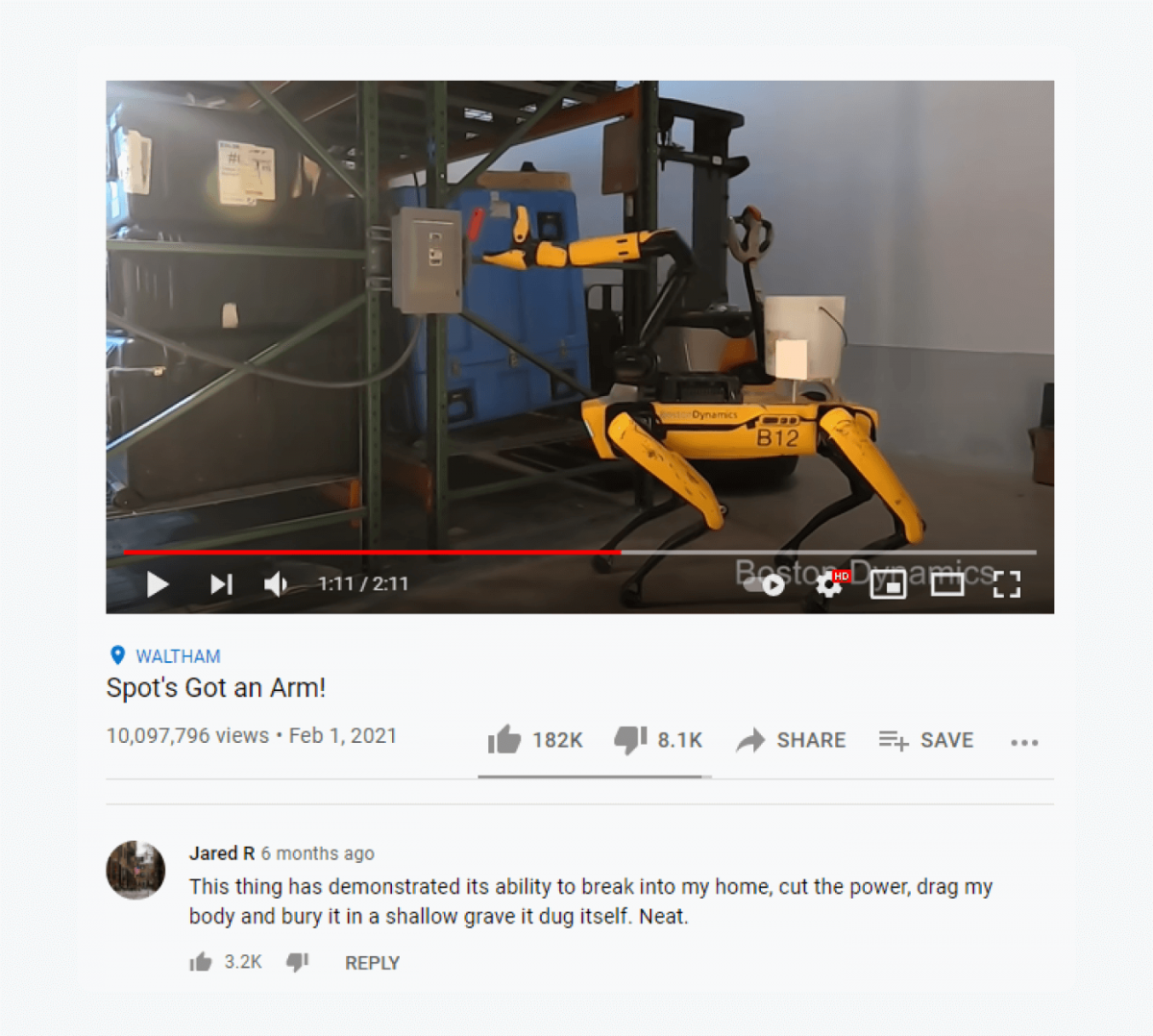 "Screenshot of youtube video ""Spot's Got an Arm!"" and a comment below"