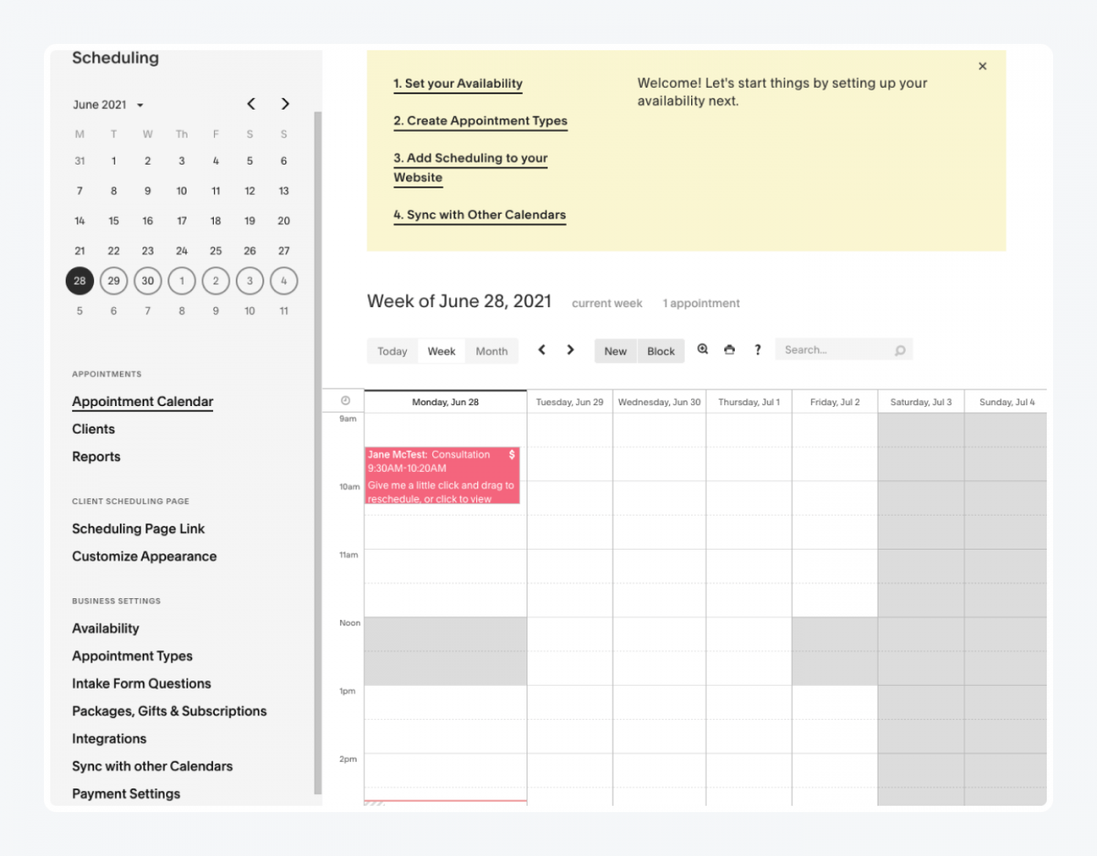 Squarespace scheduling panel
