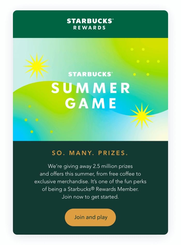 Email design example from Starbucks