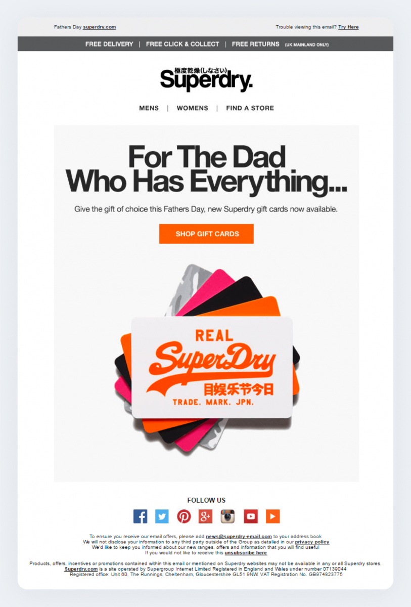 A real-life example of a seasonal email marketing campaign by Superdry