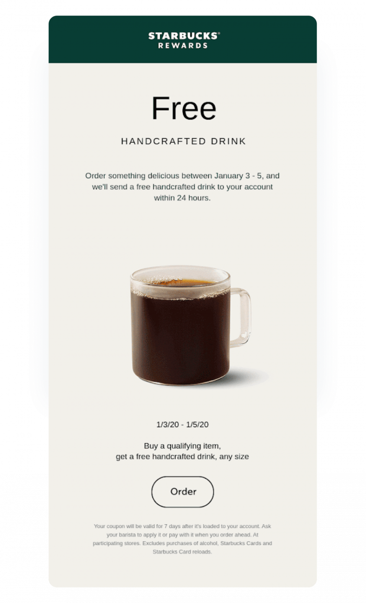 A real-life example of a promo email campaign by Starbucks