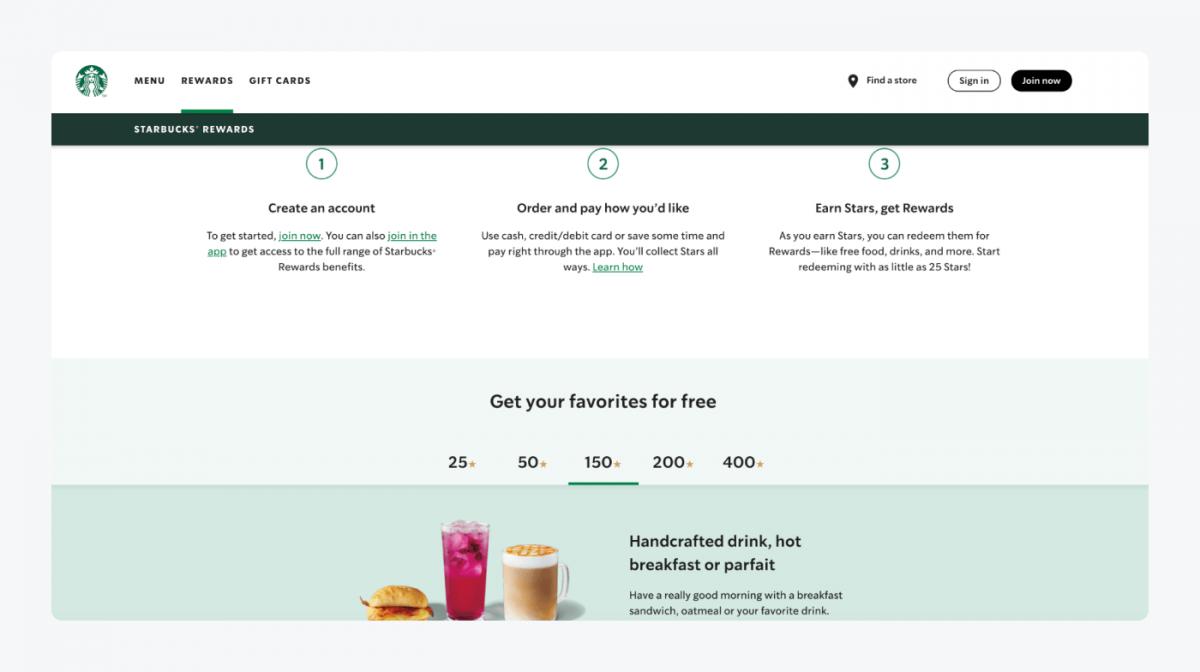 Starbucks's reward system landing page
