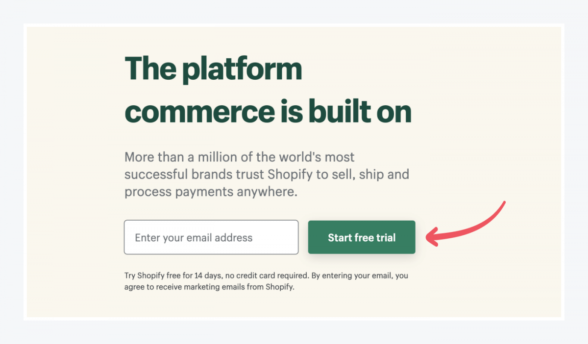 Entry to starting a free trial in Shopify