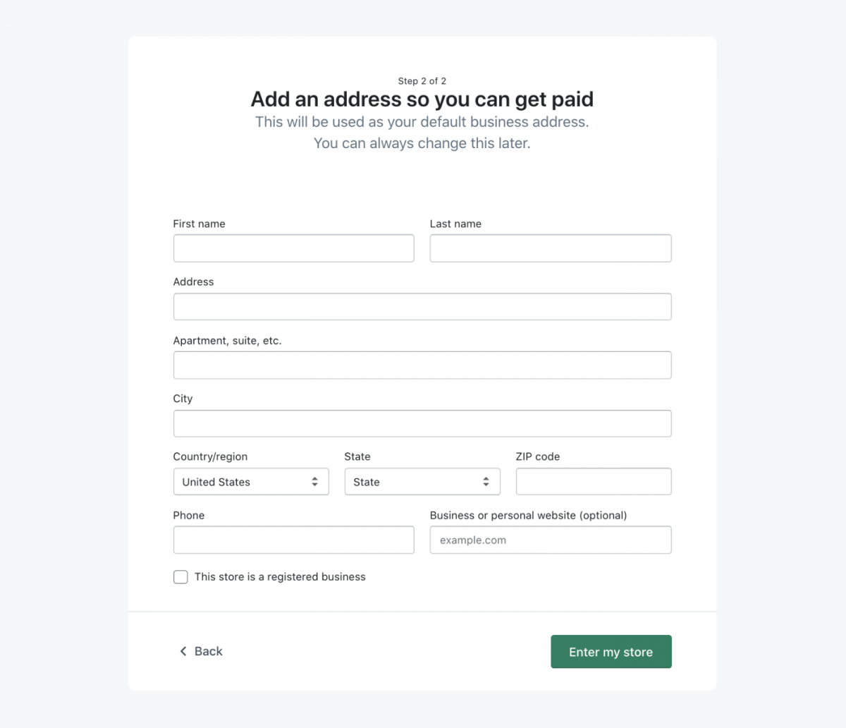 Step 2 of setting up a Shopify store