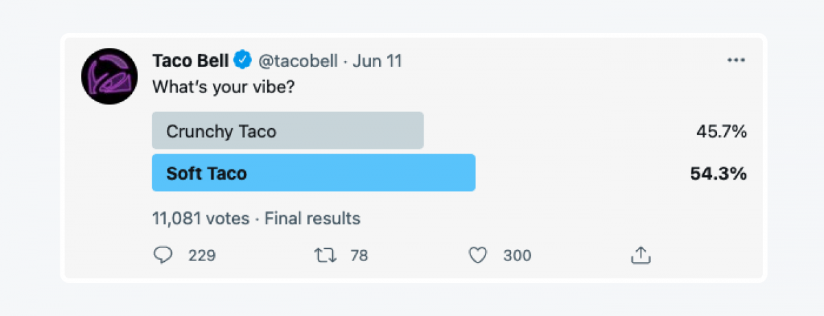 """@tacobell survey on Twitter: """"What's your vibe? 1. Crunchy Taco 2. Soft Taco"""