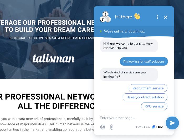 Talisman chatbot screenshot with Tidio chatbot automation and live chat widget