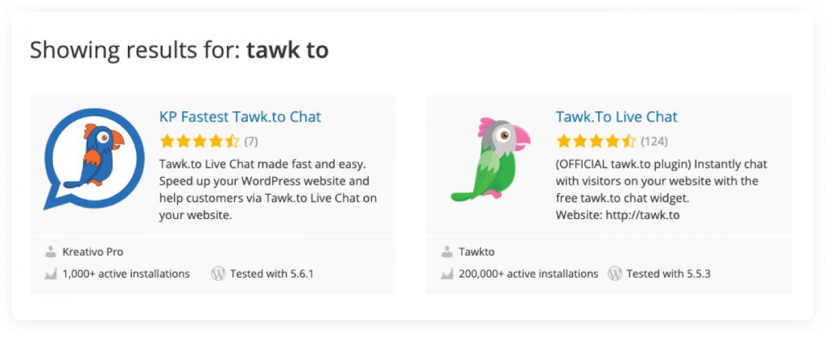Different variants of tawk.to WordPress plugin