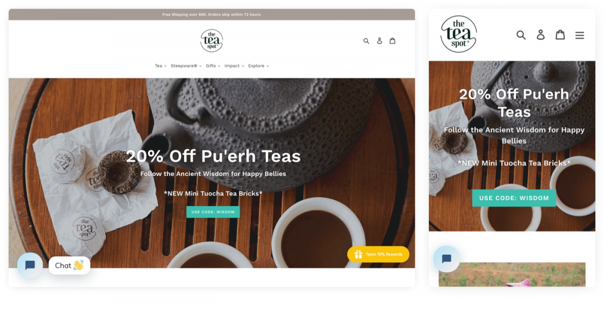 The Tea Spot homepage with live chat button