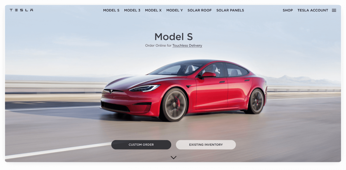 Example of product marketing from Tesla Inc.