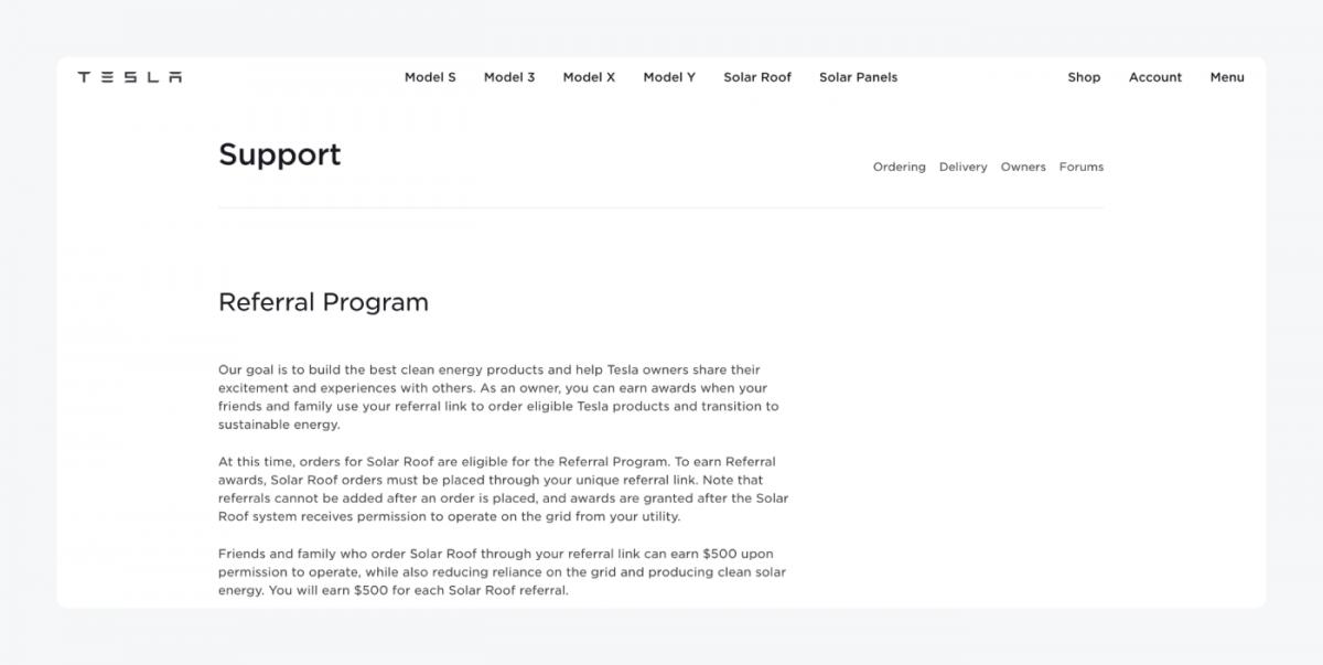 Tesla customer loyalty program page