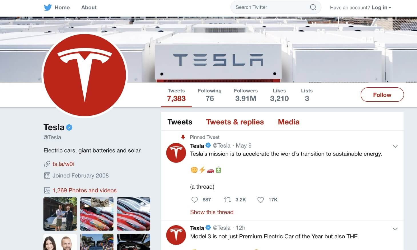 Example of Using Social Media Customer Service by Tesla