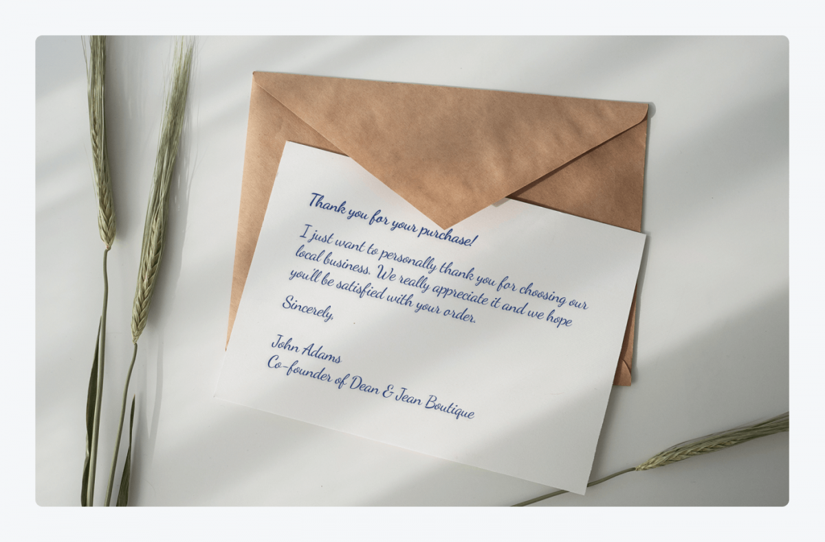 Personalized thank you for your order card example