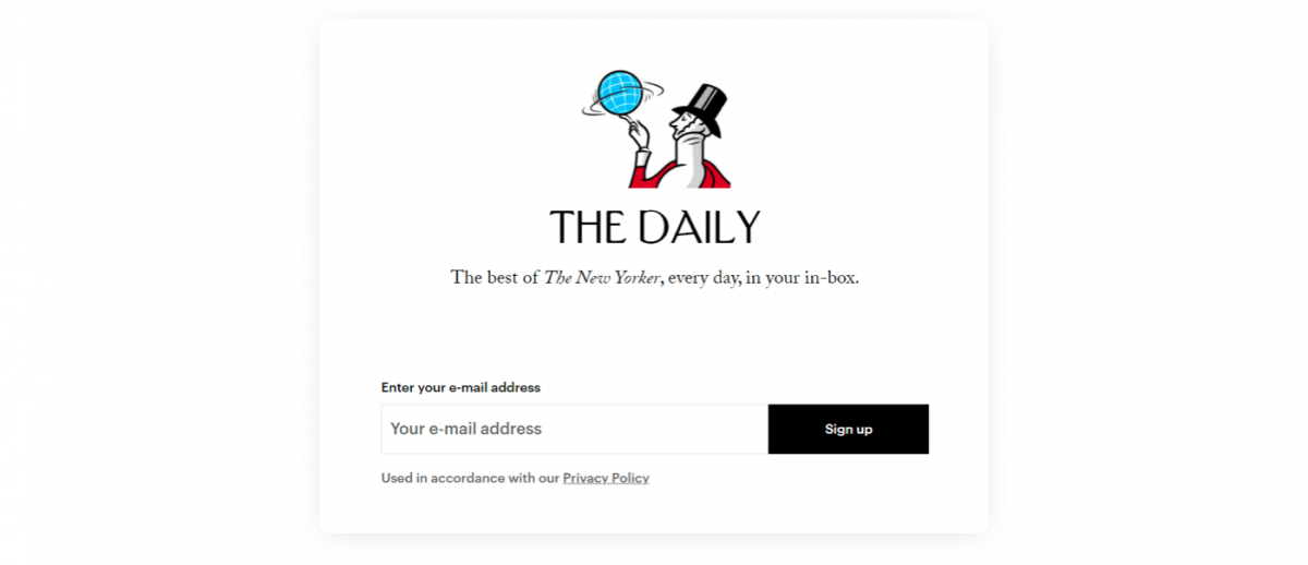 The New Yorker signup pop up example
