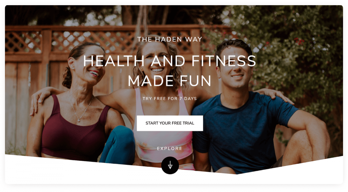 Example of a personal trainer business website