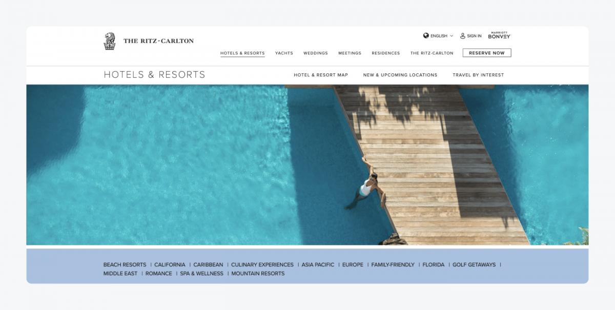 The Ritz-Carlton's homepage