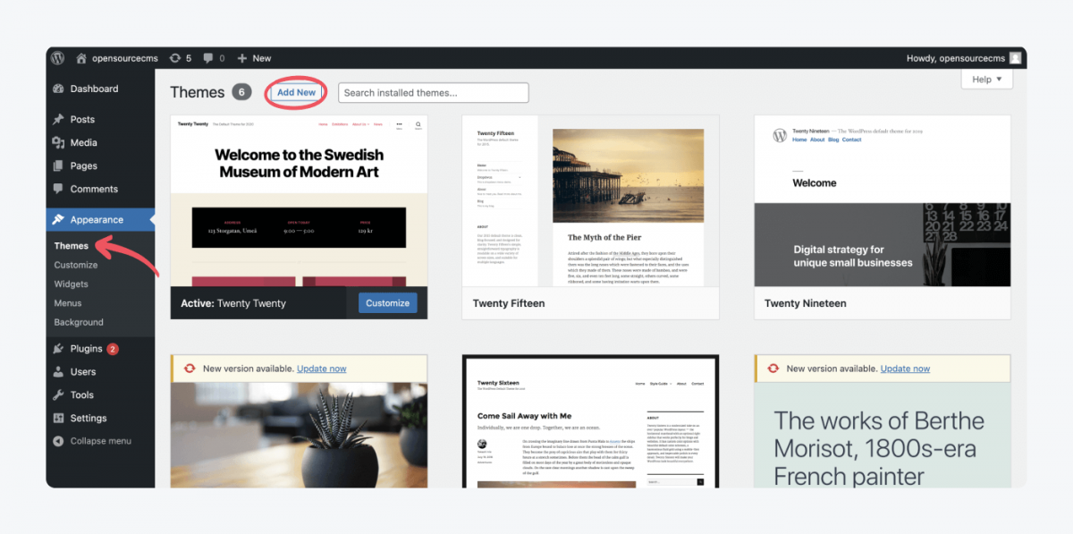 How to add a new theme in WordPress