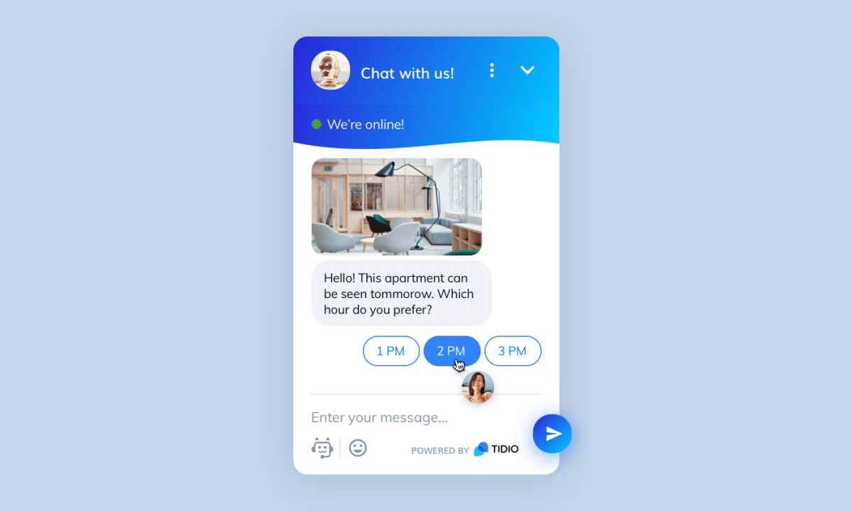Real estate chatbot powered by Tidio
