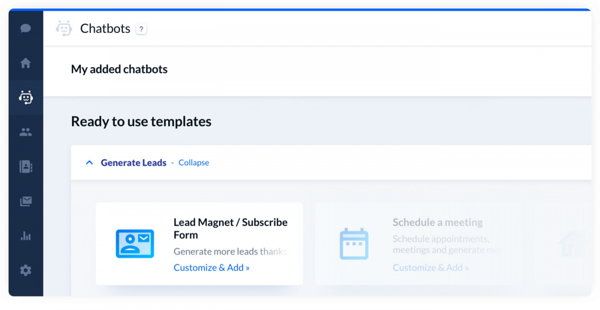 Signup form template available in Tidio