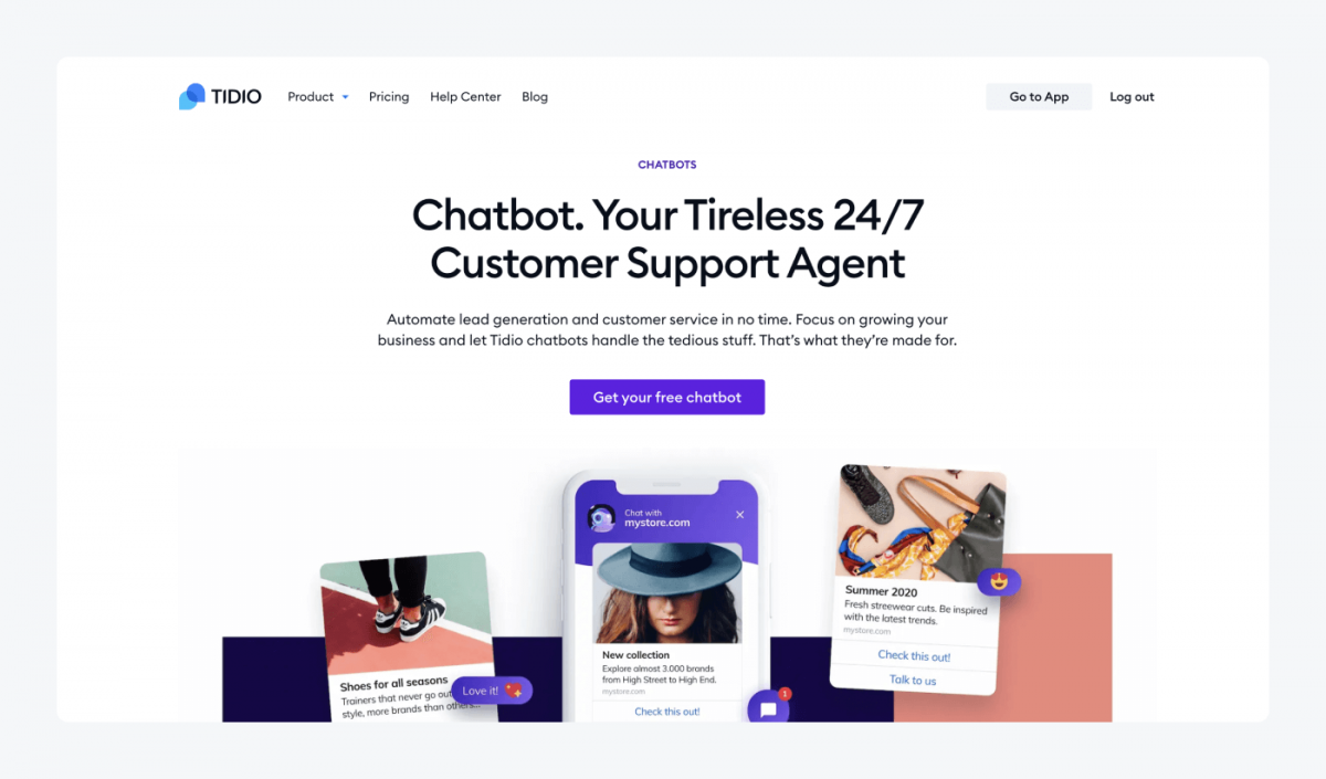 Tidio's chatbots product page