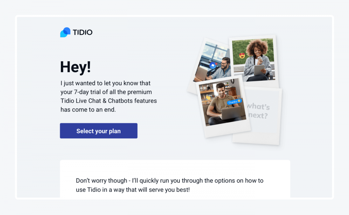 Tidio end of trial email for shopify