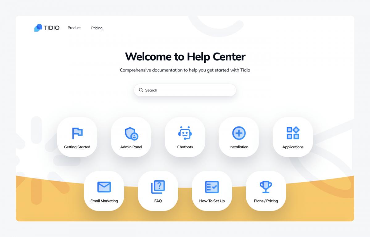 Tidio's help center page
