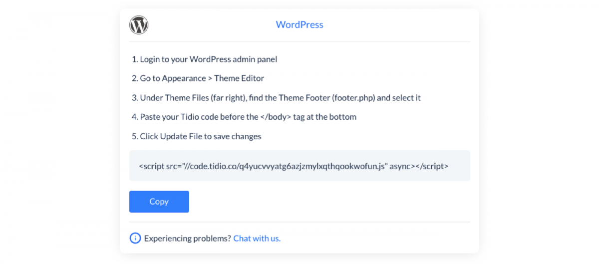Code snippet for WordPress