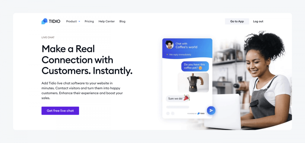 Tidio's live chat product page