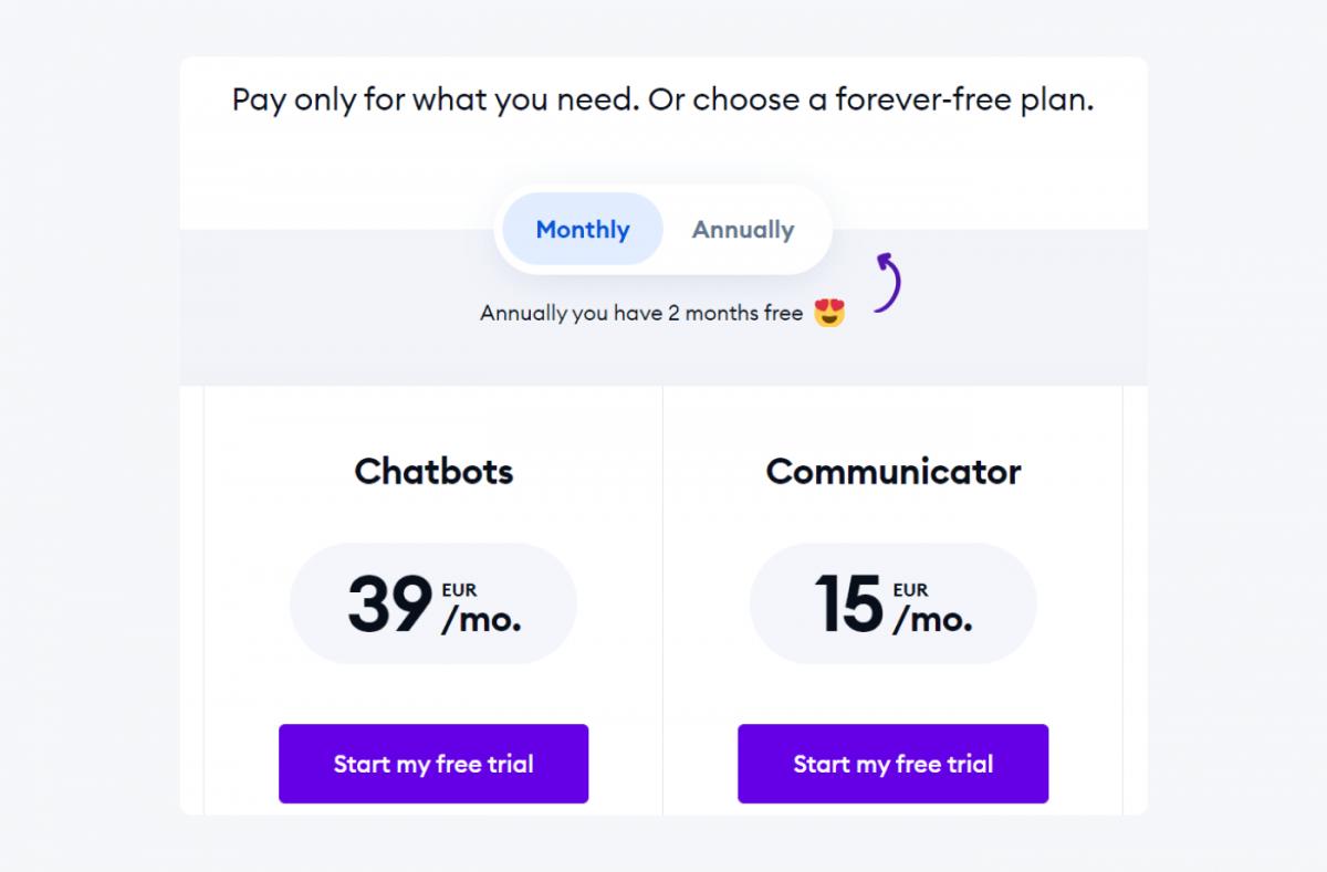 Tidio pricing page