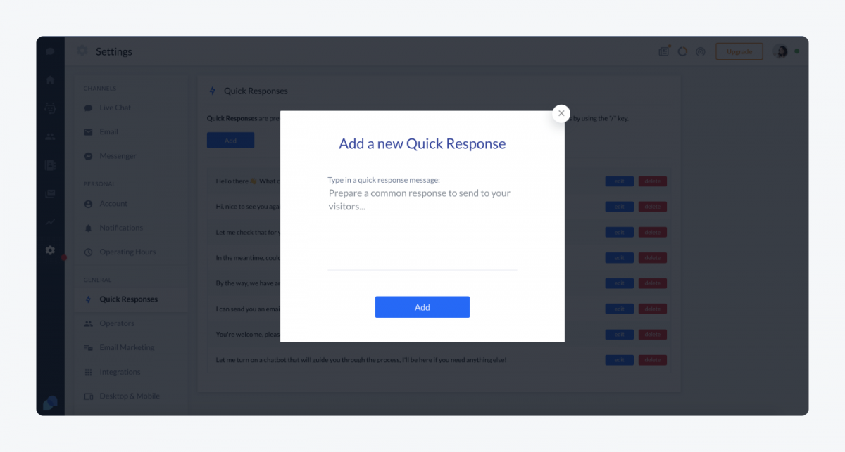 How to add a new quick response in Tidio