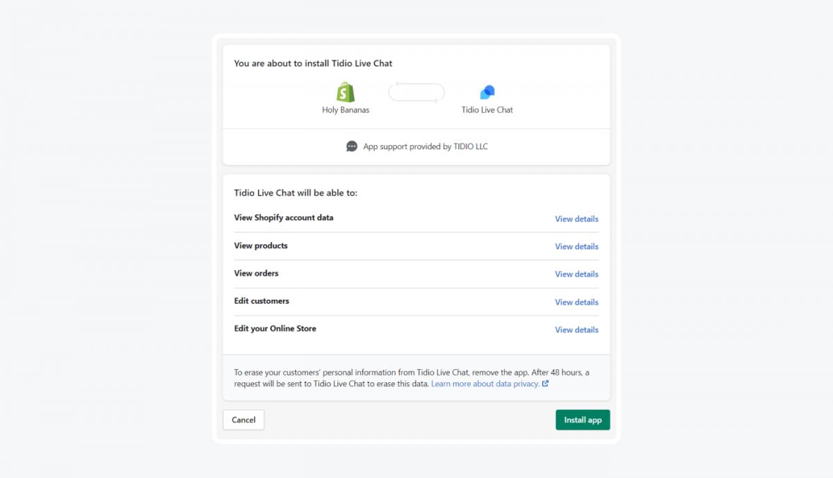 Shopify live chat integration panel