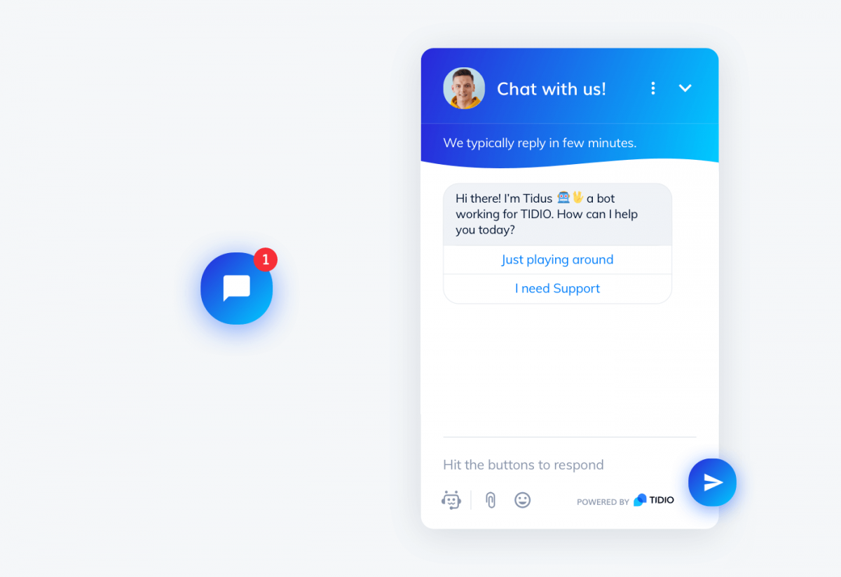 Tidio chat widget and icon
