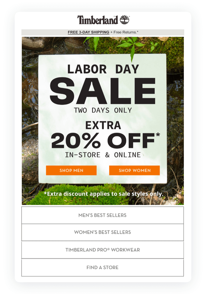 Email design example from Timberland