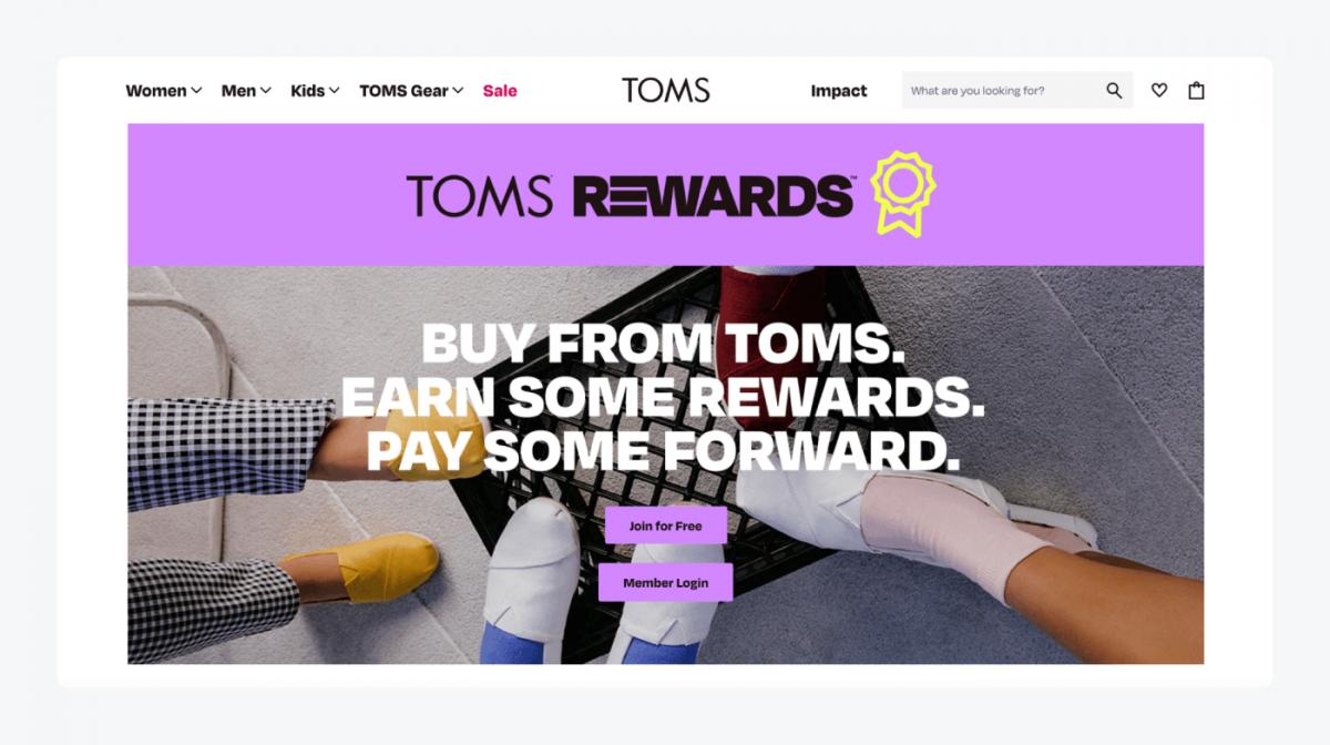 TOMS's rewards page