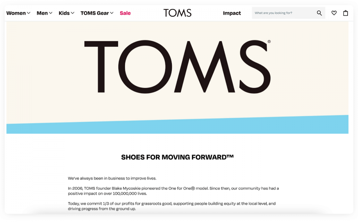Example of product marketing from TOMS company