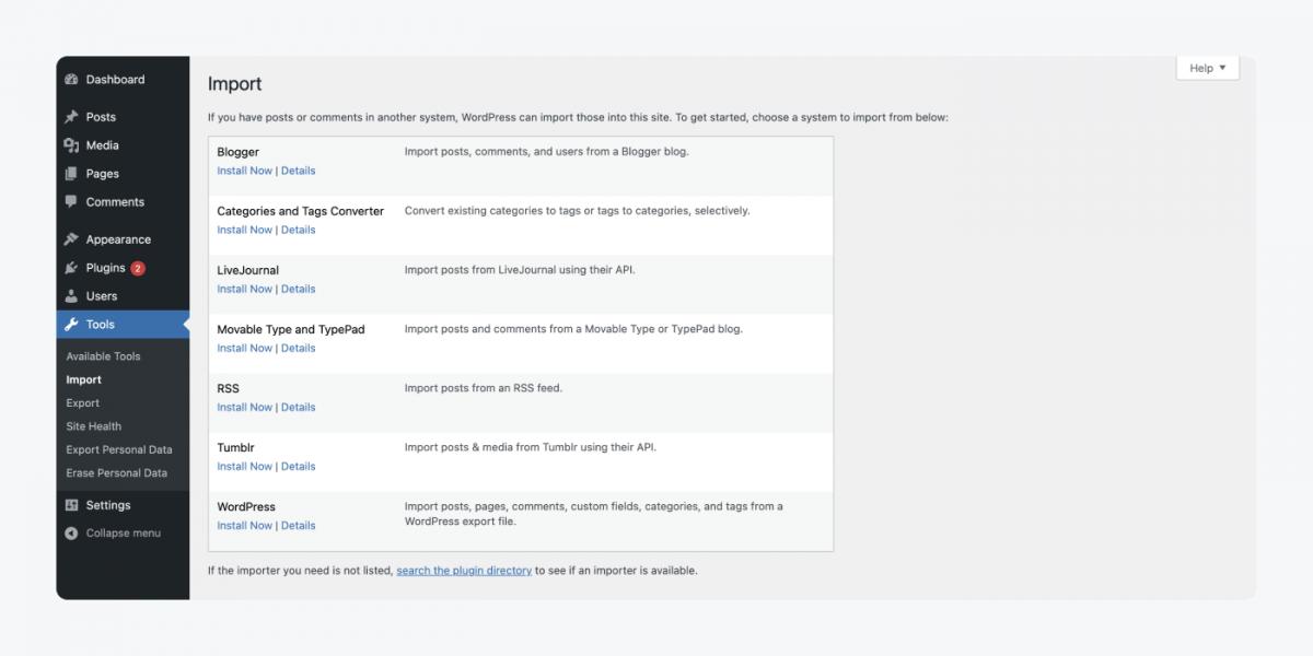 Wordpress import panel