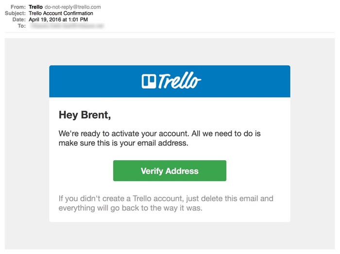 Customer onboarding email example from Trello