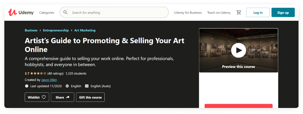 A Udemy course about promoting and selling art online