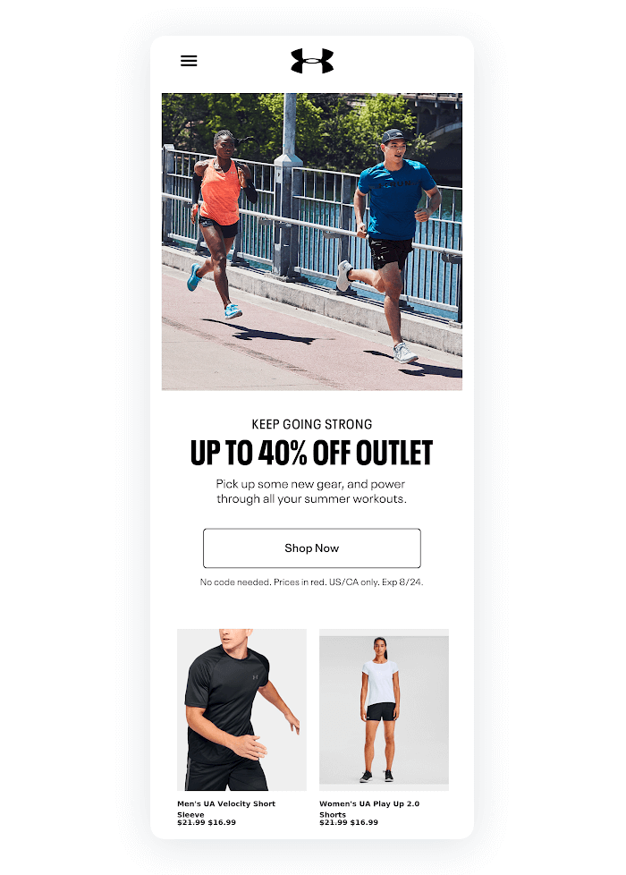 Email design example from Under Armour