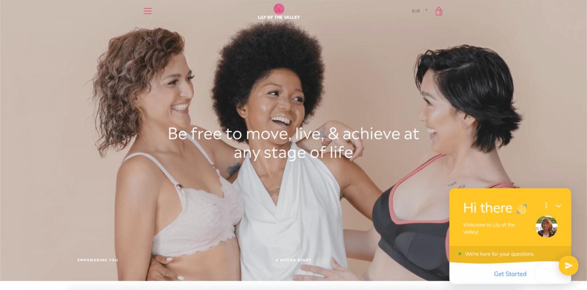 A screenshot of a website that sells underwear