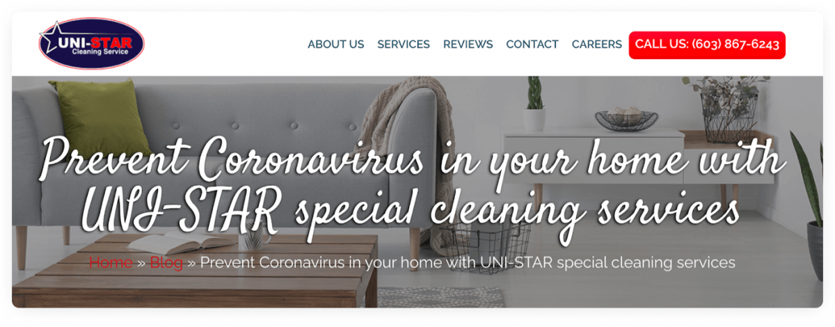 Cleaning service business website example