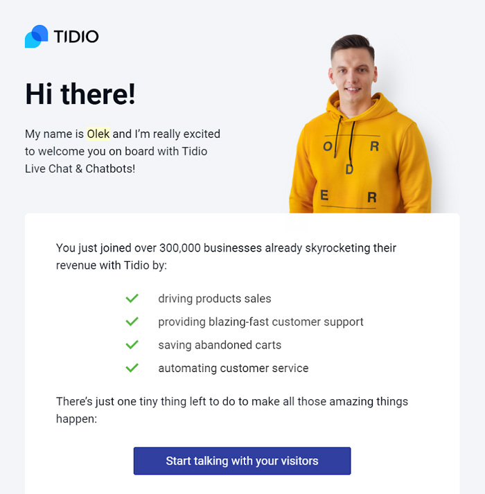 Customer onboarding email example from Tidio