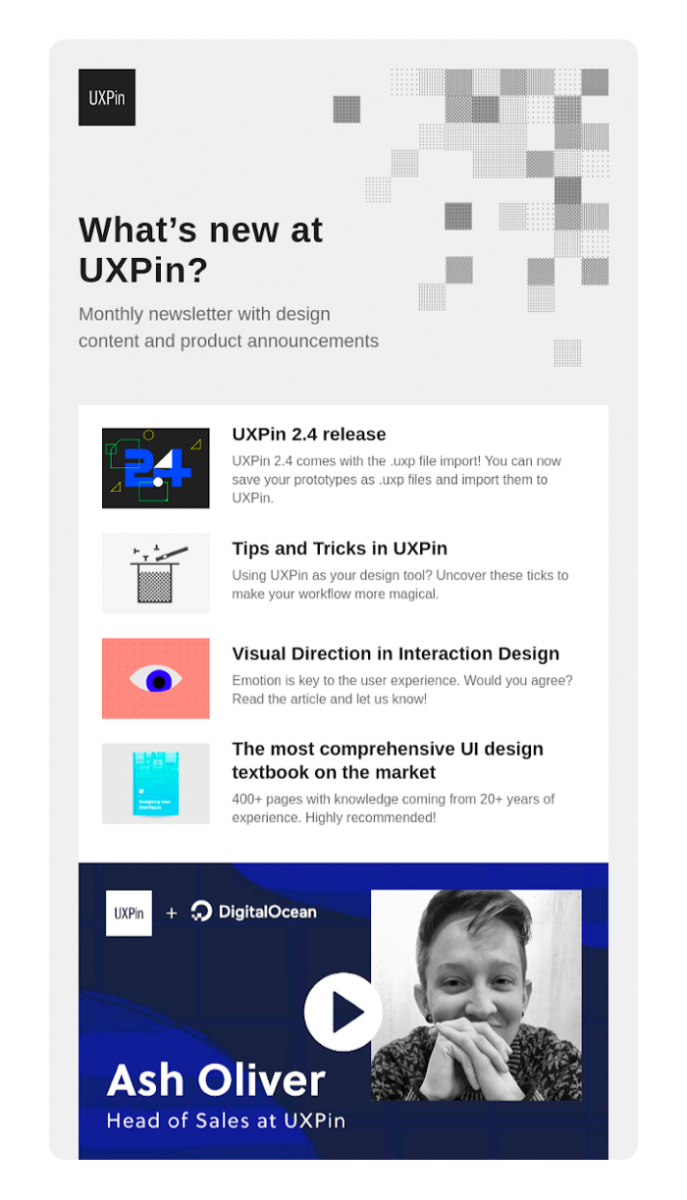 Email design example from UXPin