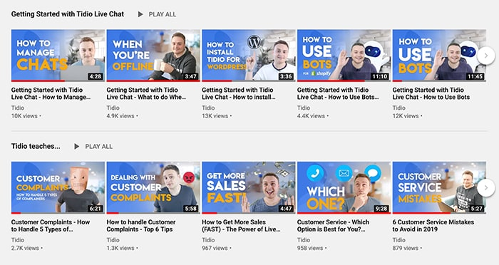 A selection of YouTube chatbot tutorial videos from Tidio