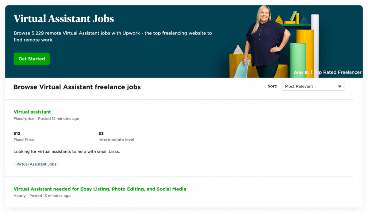 An example of a virtual assistant job posting