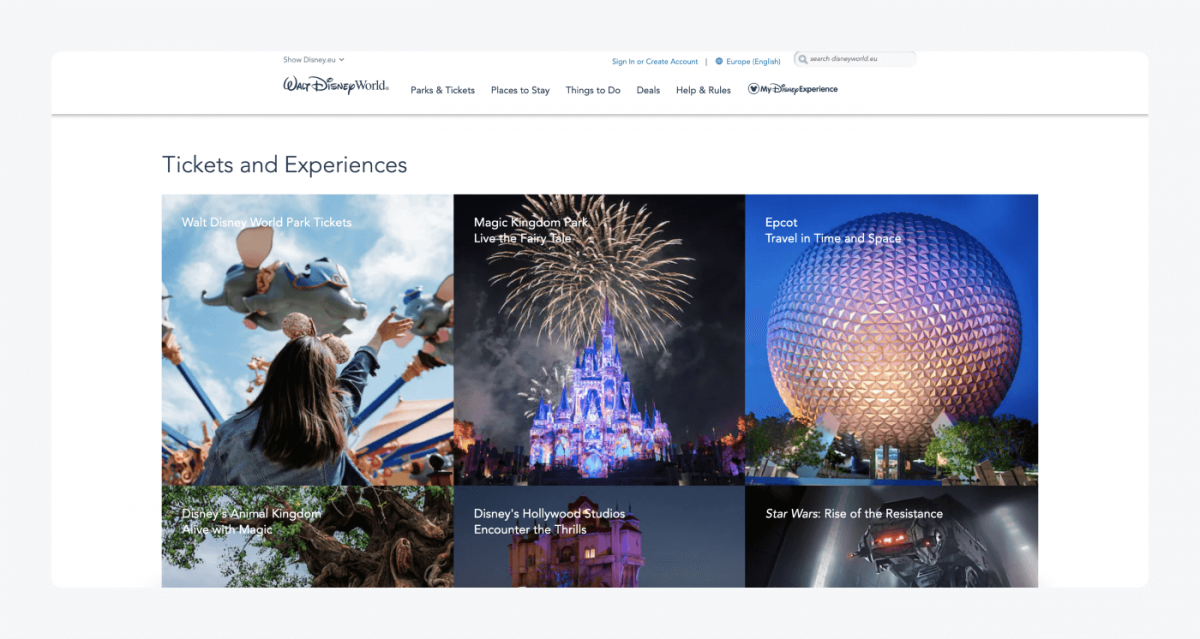 Disney's homepage