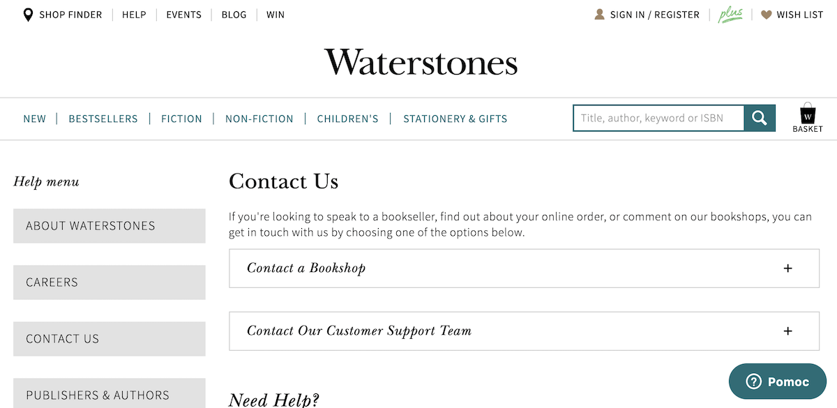 Example of Using Email Customer Service by Waterstones