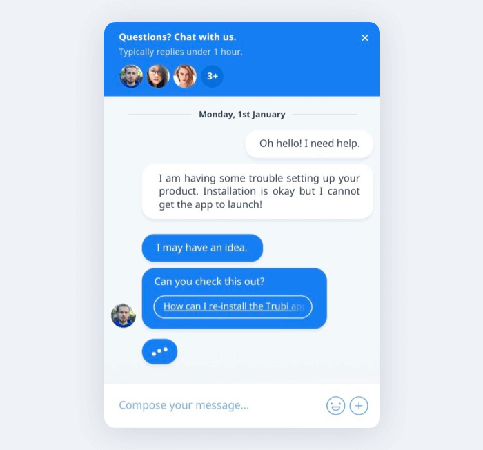 A screenshot of a live chat widget - Crisp