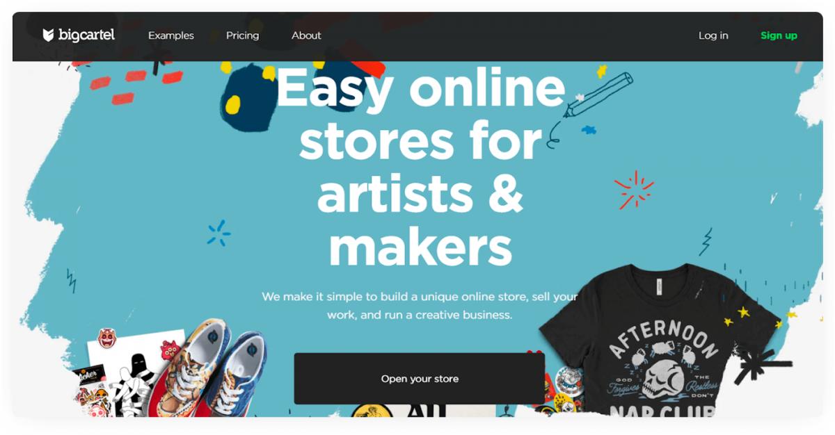 Big Cartel homepage