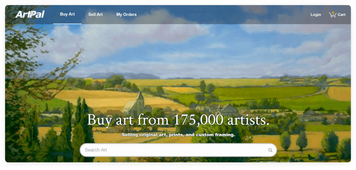 The homepage of ArtPal