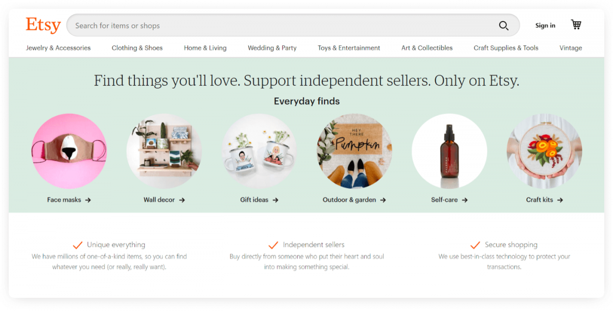 The homepage of Etsy